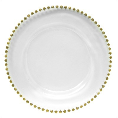 ChargeIt by Jay Gold Beaded Clear Glass Round Charger Plate 13""