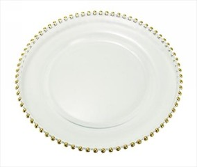 Ten Strawberry Street Gold Bell Tip Clear Glass Round Charger Plate 13""