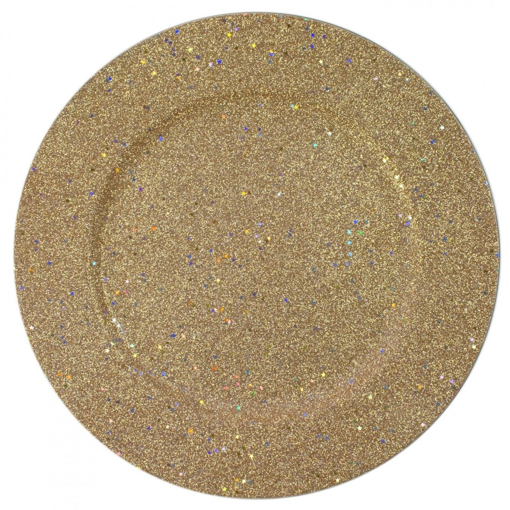 ChargeIt by Jay Gold Glitter and Stars Charger Plate 12.75""