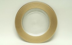 ChargeIt by Jay Gold Glitter Glass Round Charger Plate 12""