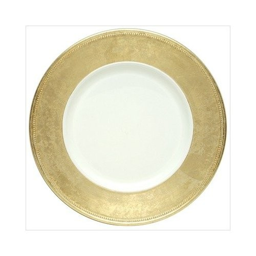 Gold Leaf Rimmed White Lacquered Charger Plate