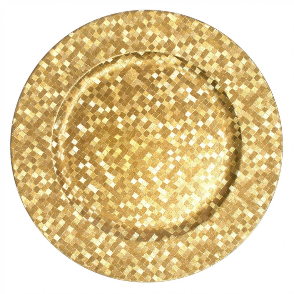 Gold Mosaic Round Acrylic Charger Plate