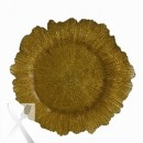 Ten Strawberry Street Gold Sponge Glass Charger Plate 13-3/4""