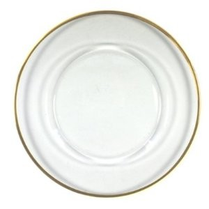ChargeIt By Jay Round Gold Rim Glass Charger Plate 13""