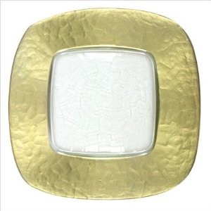 ChargeIt by Jay Square Glass Charger Plate with Gold Edge 13""
