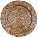 Harvest Amber Round Rattan Charger
