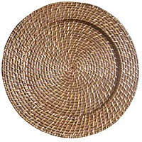 ChargeIt by Jay Round Harvest Amber Rattan Charger Plate 13""