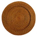 """ChargeIt by Jay Round Honey Rattan Charger Plate 13"""""""
