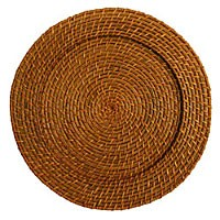 ChargeIt by Jay Round Honey Rattan Charger Plate 13""