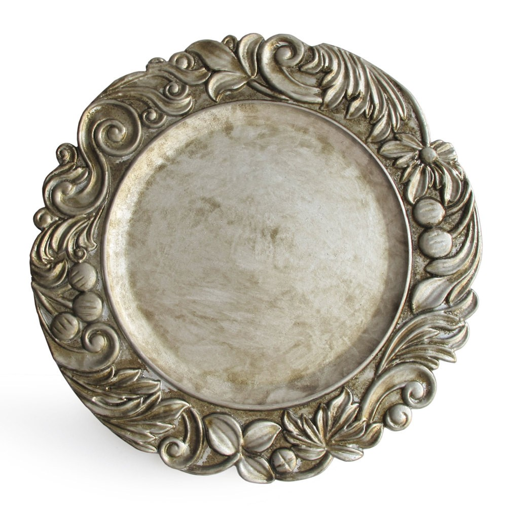 ChargeIt by Jay Aristocrat Antique Silver Charger Plate 14""