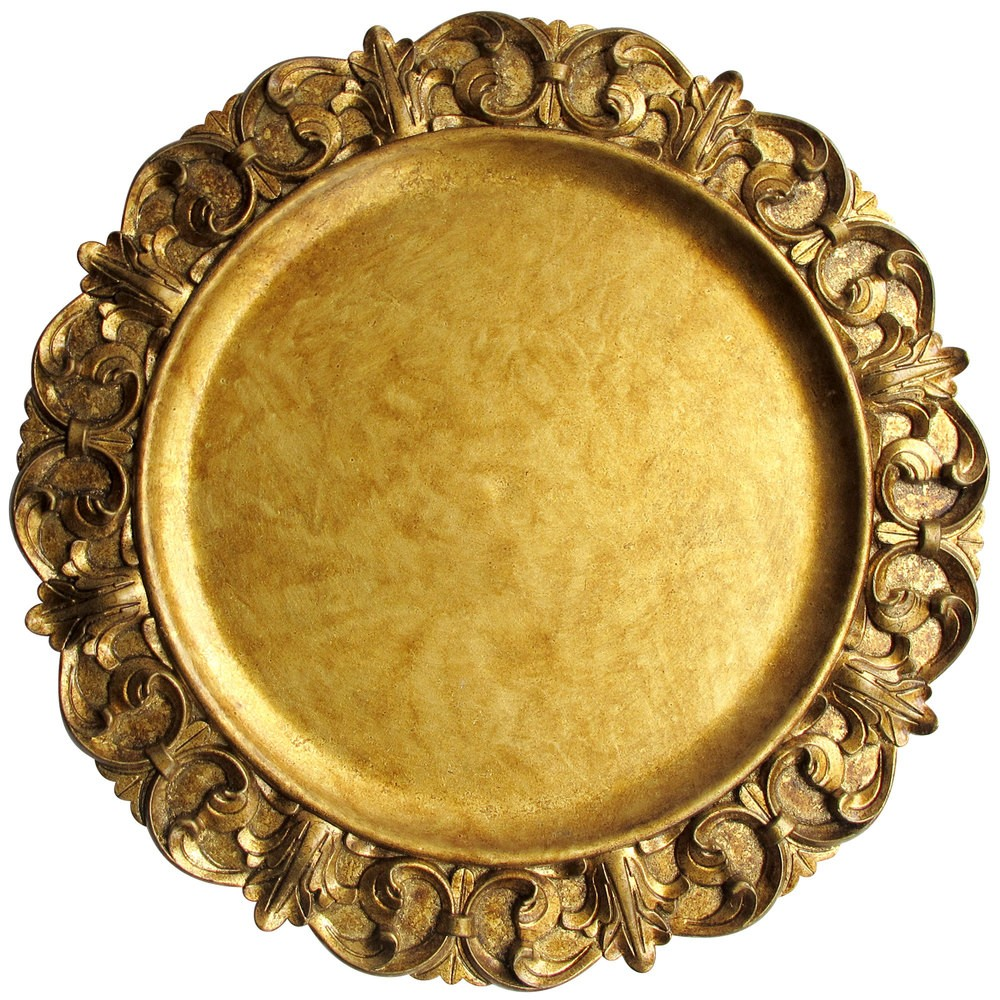 ChargeIt by Jay Round Aristocrat Gold Embossed Charger Plate 14""