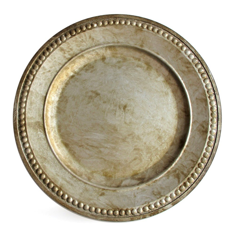 ChargeIt by Jay Beaded Antique Silver Charger Plate 14""