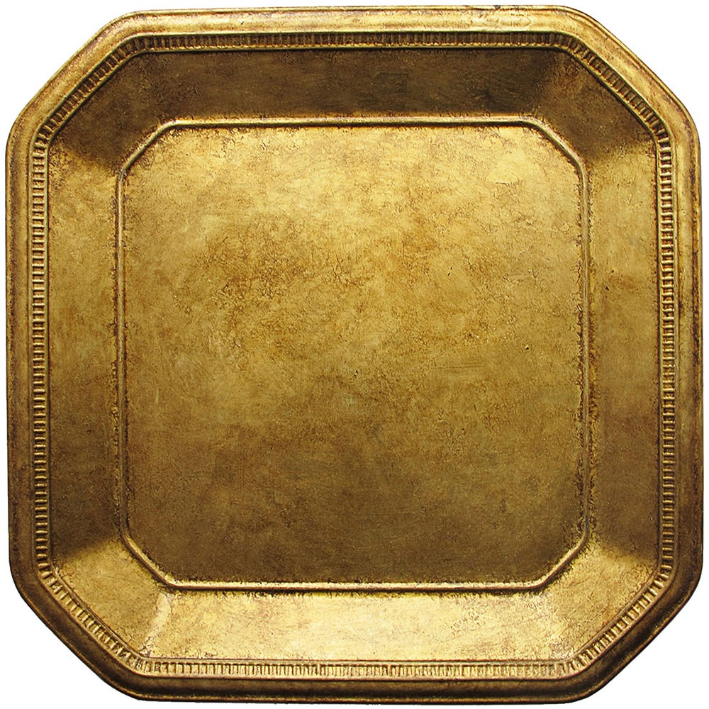 Jay Imports Gold Ancient Square Charger Plate 13