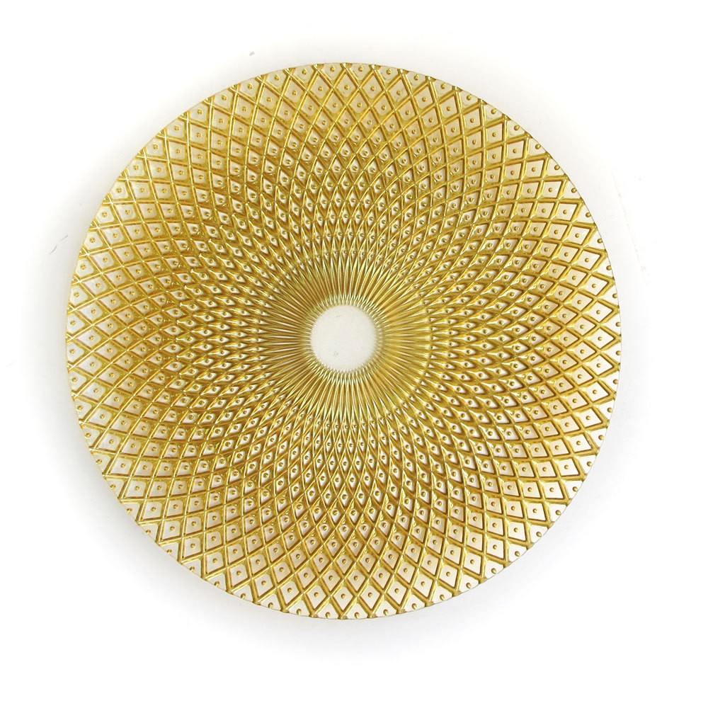 ChargeIt by Jay Round Edge Gold Glass Charger Plate 12-3/4""