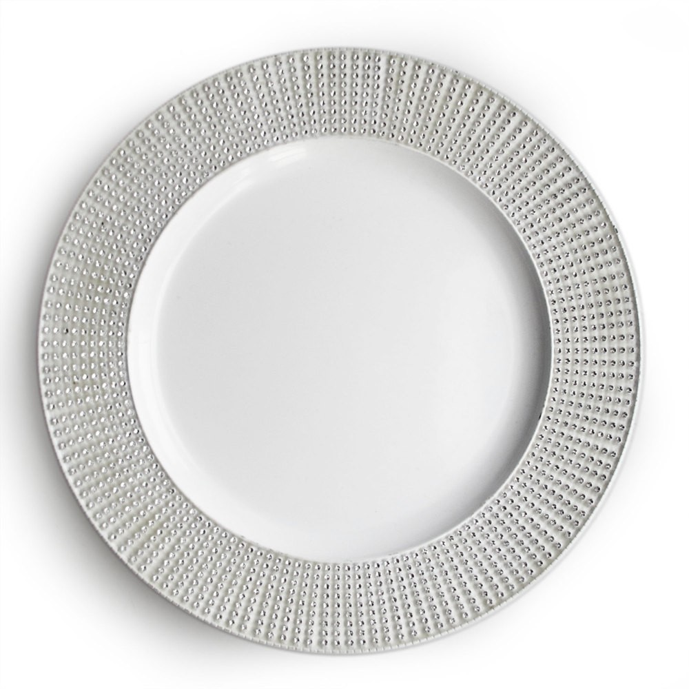Jay Imports White Diamond Charger Plate 13