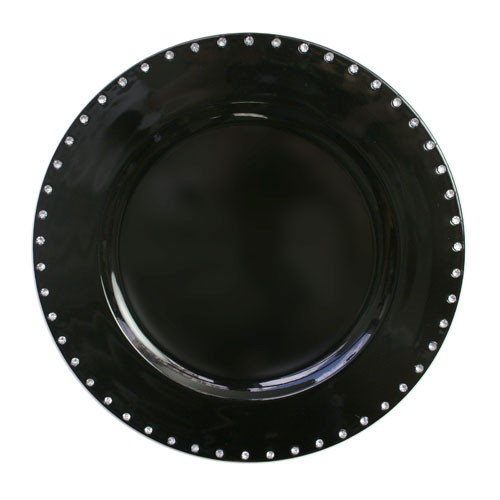 Jewel Rimmed Black Charger Plate