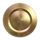 Jewel Rimmed Gold Lacquered Charger Plate