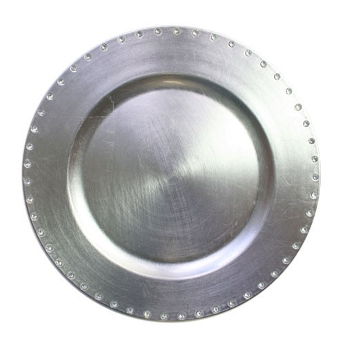 Jewel Rimmed Silver Lacquered Charger Plate