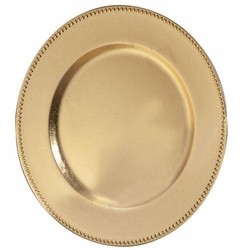 Lacquer Gold Beaded Charger Plate