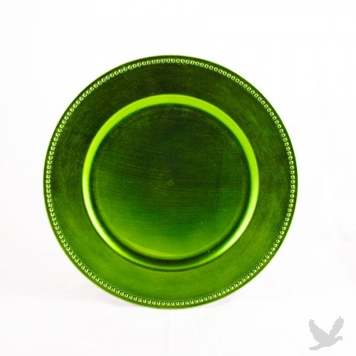 Lime Green Beaded Acrylic Charger Plates