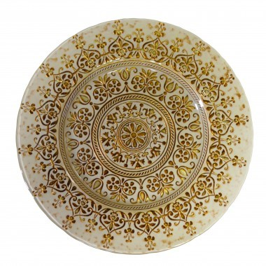Monaco Beige & Gold Glass Charger Plate