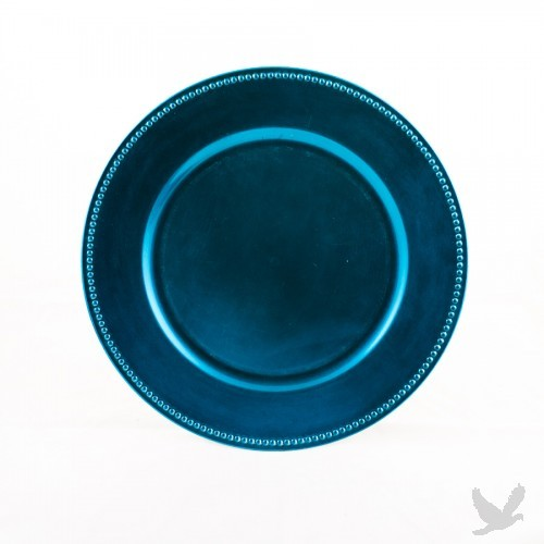 Ocean Blue Beaded Acrylic Charger Plates