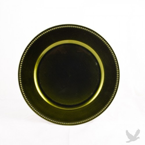 Olive Green Beaded Acrylic Charger Plates