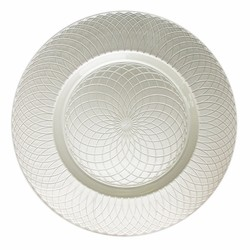 Pearl Spiral Silver Glass Charger Plate