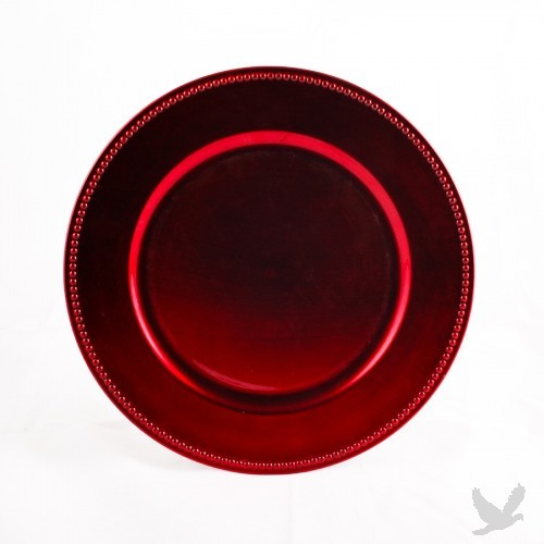 Red Beaded Acrylic Charger Plates