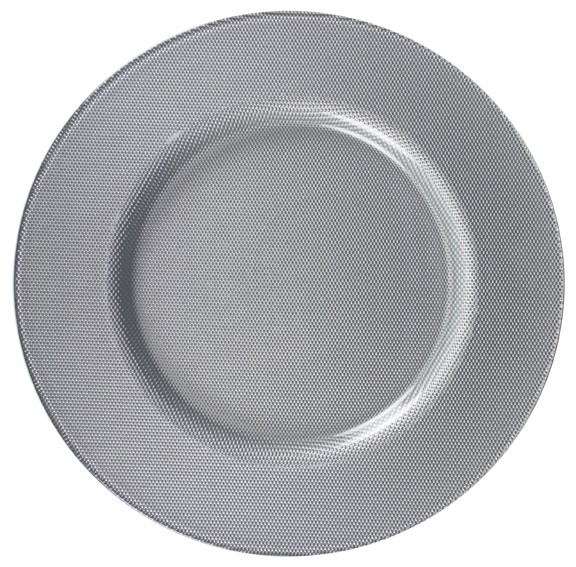 ChargeIt by Jay Reflex Silver Glass Charger Plate 13""