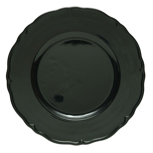 "ChargeIt by Jay Black Regency Round Melamine Charger Plate 13"" ;"