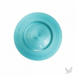 Ripple Glass Charger Plates - Aqua