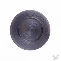 Ripple Glass Charger Plates - Charcoal Gray
