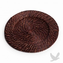 Round Rattan Charger Plate - Dark Brown