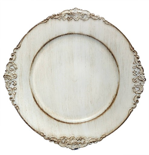 ChargeIt by Jay Royal White Antique Charger Plate 13""