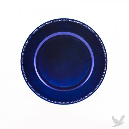 Royal Blue Beaded Acrylic Charger Plates