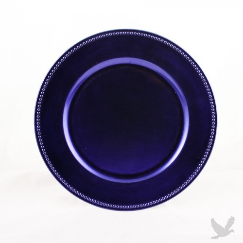 Royal Purple Beaded Acrylic Charger Plates