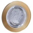 Ten Strawberry Street Saturn Gold Rim Glass Charger Plate 13""