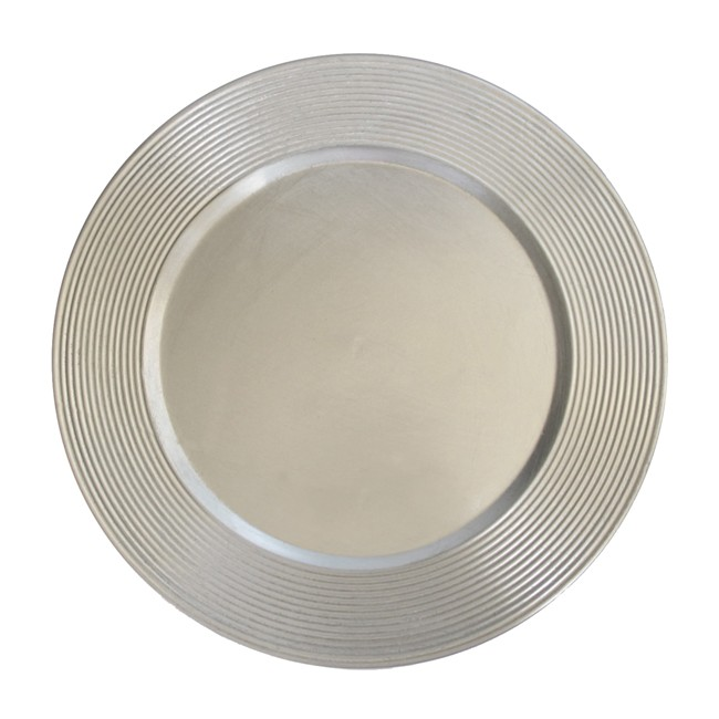 ChargeIt by Jay Saturn Silver Rim Round Charger Plate 13""