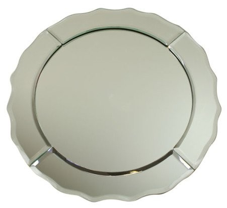 ChargeIt by Jay Round Scalloped Edge Mirror Charger Plate 13""