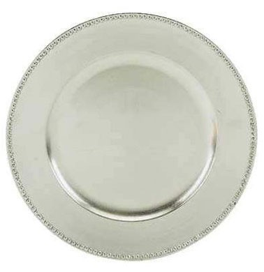 Silver Acrylic Beaded Round Charger Plates (4 Pack)