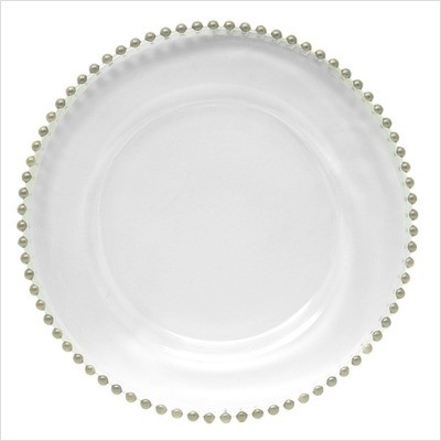 Silver Beaded Clear Glass Charger Plate