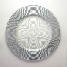 Silver Glitter Glass Charger Plate
