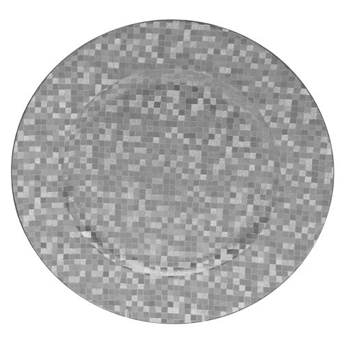 Silver Mosaic Round Acrylic Charger Plate