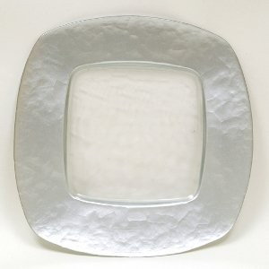 Silver Rounded Square Glass Charger Plate