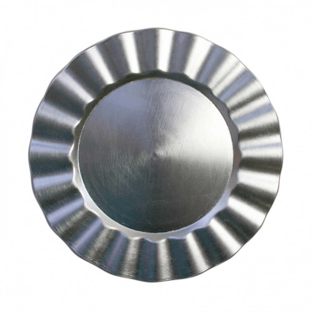 Silver Ruffled Lacquered Charger Plate