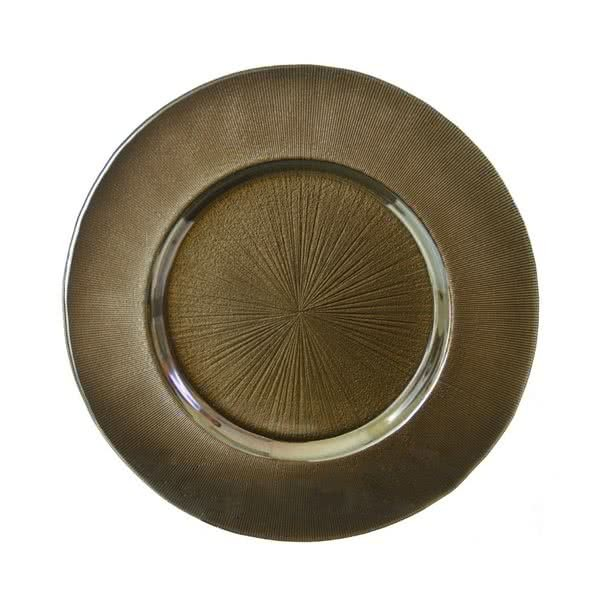 Sunburst Metallic Bronze Glass Charger Plate