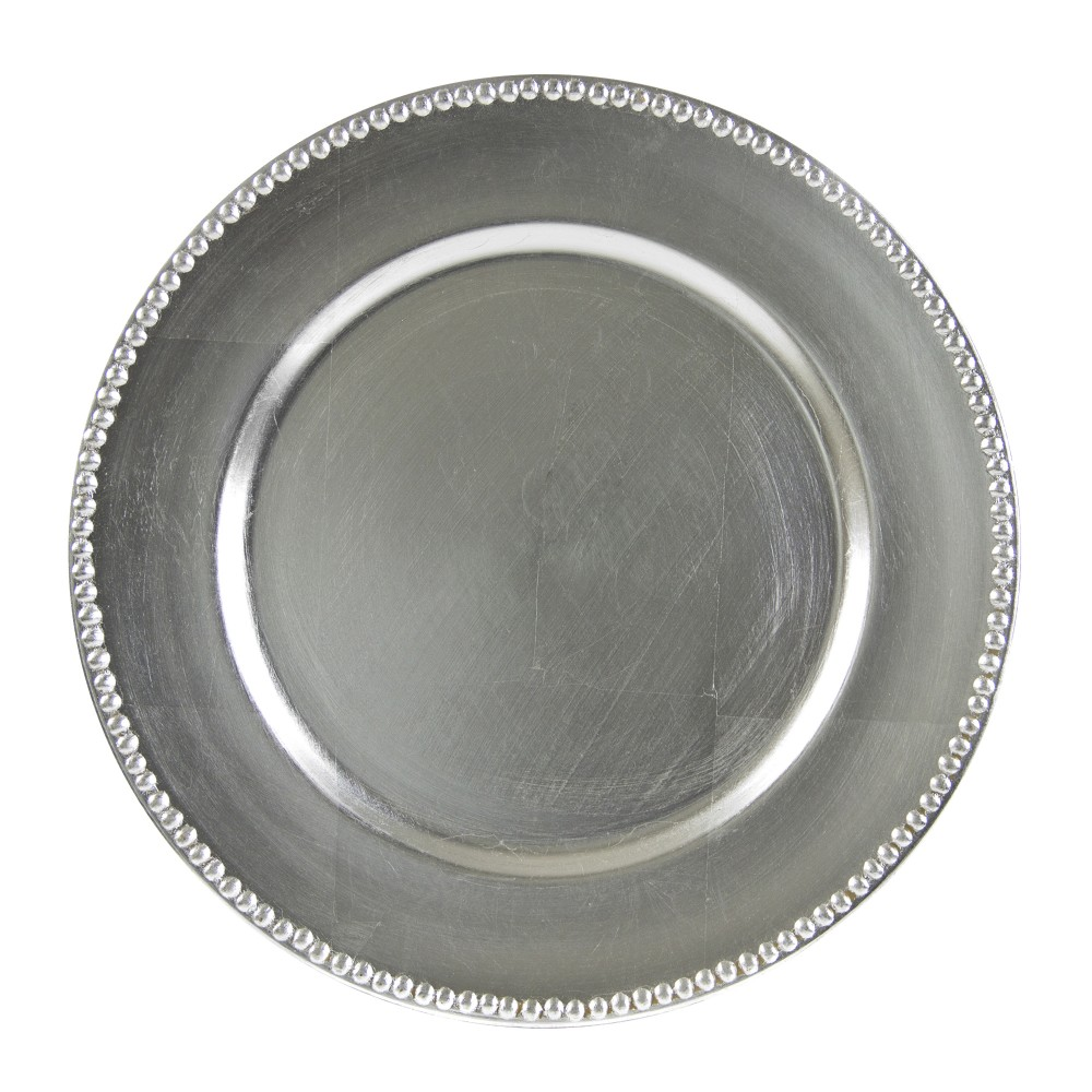 """Ten Strawberry Street Round Silver Beaded Lacquer Charger Plate 13"""""""