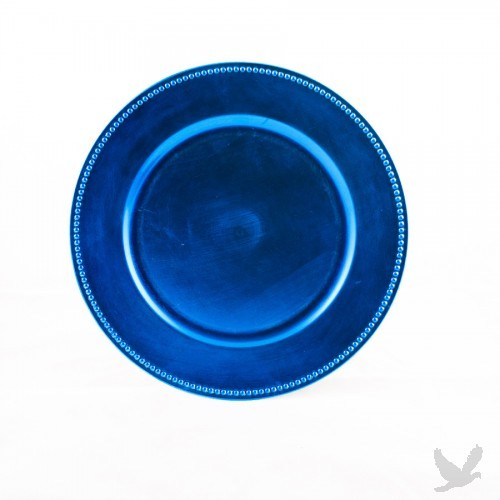 Turquoise Blue Beaded Acrylic Charger Plates