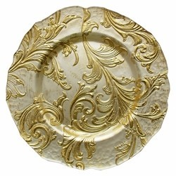 Vanessa Glass Charger Plate-Gold